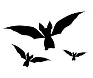 Bats set icon. Vector illustration. Black silhouette of a bat Stock Photo