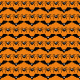 Bats and spiders Halloween pattern. Royalty Free Stock Photo