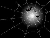Bats and Spiderweb in the Moonlight. Illustration of red-eyed bats in flight against a moonlit night, with a spiderweb in the foreground. Fully editable vector vector illustration