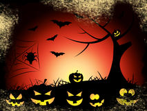Bats Tree Indicates Trick Or Treat And Autumn Royalty Free Stock Images