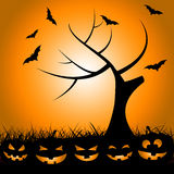 Bats Tree Means Trick Or Treat And Autumn Royalty Free Stock Photos