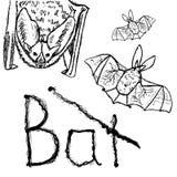 Bats. Vector black silhouettes. Stock Photo