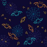 Bats and web Halloween seamless background Stock Photos