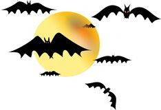 Bats on white. Against a yellow moon Stock Image