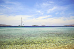 Batsi beach in Andros Greece Stock Photo