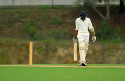 Batsman. A batsman walked away after his turn is over stock photo