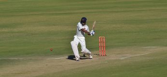 Batsman attempting a Shot during Ranji Trophy Cric Stock Photography