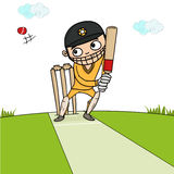 Batsman with bat and ball for Cricket concept. Stock Images