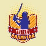 Batsman with bat and winning shield. Stock Image