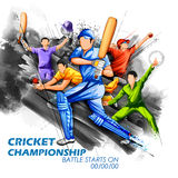 Batsman and bowler playing cricket championship sports. Illustration of batsman and bowler playing cricket championship sports Royalty Free Stock Photos