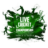Batsman and bowler playing cricket championship sports. Illustration of batsman and bowler playing cricket championship sports Royalty Free Stock Photo