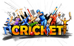 Batsman and bowler playing cricket championship sports Stock Images