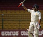 Batsman celebration. Karun Nair celebrates after reaching a milestone stock photography