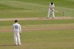 Batsman and fielder Stock Photography