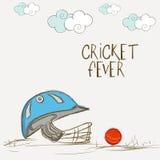 Batsman helmet with ball for Cricket Fever. Royalty Free Stock Photos