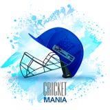 Batsman Helmet for Cricket Mania concept. Stock Photos