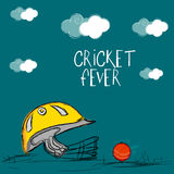Batsman helmet with red ball for Cricket Fever. Royalty Free Stock Photography