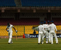Batsman Out. Manish Pandey walks out after being dismissed in the Irani Cup stock photography