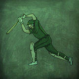 Batsman in playing action for Cricket sports concept. Royalty Free Stock Image