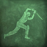 Batsman in playing action for Cricket sports concept. Royalty Free Stock Photography