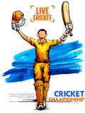 Batsman playing cricket championship sports. Illustration of batsman playing cricket championship Royalty Free Stock Photo