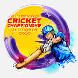 Batsman playing cricket championship sports. Illustration of batsman playing cricket championship sports Royalty Free Stock Photo