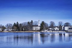 Kennebunkport Maine Winter Batson River. The Batson river flowing through the historic town of Kennebunkport Maine on a sunny winter day stock image