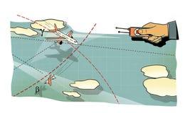 Battaglia di aria La mano dell'uomo con i pannelli di controllo dell'aeroplano in volo, nel picco ed in una curvatura fra le nuvo illustrazione vettoriale