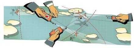Battaglia di aria Le tre mani degli uomini con i pannelli di controllo dell'aeroplano in volo, nel picco ed in una curvatura fra  royalty illustrazione gratis