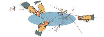 Battaglia di aria Le tre mani degli uomini con i pannelli di controllo dell'aeroplano in volo, nel picco ed in una curvatura fra  illustrazione vettoriale