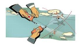 Battaglia di aria Le tre mani degli uomini con i pannelli di controllo dell'aeroplano in volo, nel picco ed in una curvatura fra  illustrazione di stock
