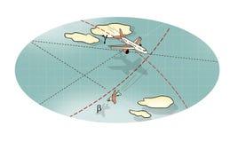 Battaglia di aria Tre aerei in volo, in un picco ed in una curvatura fra le nuvole e le linee dell'itinerario Aumento e caduta Co royalty illustrazione gratis
