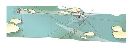 Battaglia di aria Tre aerei in volo, in un picco ed in una curvatura fra le nuvole e le linee dell'itinerario Aumento e caduta Co illustrazione di stock