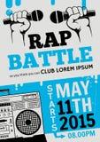 Battaglia di rap, musica del hip-hop di concerto Progettazione del modello di vettore, aletta di filatoio, manifesto, opuscolo, l Immagine Stock Libera da Diritti
