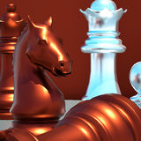 Battaglia di scacchi Fotografie Stock