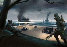 Battaglia di stile di Steampunk sulla costa, navi, automobili, aeroplani Immagini Stock