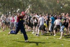 Battaglia epica del baloon dell'acqua Fotografia Stock