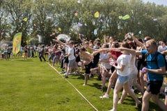 Battaglia epica del pallone di acqua Immagini Stock