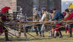 Battaglia messa in scena medievale - Rievocandum 2015 fotografia stock