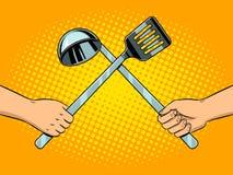 Battaglia sul vettore di Pop art degli utensili della cucina Immagine Stock