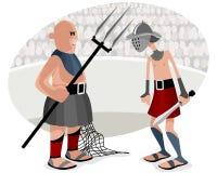 Battaglie di gladiatori in arena Fotografia Stock