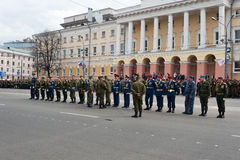 Battalion commanders in uniform are at rehearsal of Military Parade Stock Photography