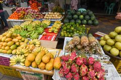 Fruit for sale at the market of Battambang on Cambodia. Battambang, Cambodia - 15 January 2018: fruit for sale at the market of Battambang on Cambodia Stock Images