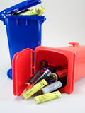 Battaries in waste bins Royalty Free Stock Image