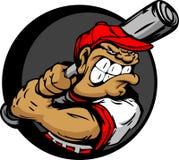 Batte de baseball dure de fixation de joueur de baseball illustration stock