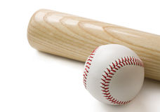 Batte de baseball et base-ball sur le blanc Image libre de droits