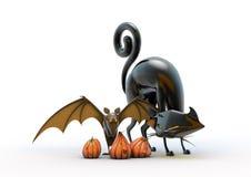 Batte de potiron de Halloween et chat noir d'isolement illustration stock