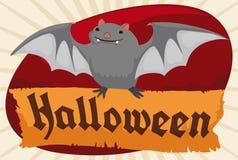 Batte mignonne pilotant et tenant un rouleau de papier pour Halloween, illustration de vecteur illustration stock