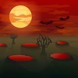 Batte-vampires dans le clair de lune illustration stock