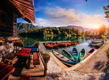 Battelli da diporto nel lago Fotografia Stock Libera da Diritti
